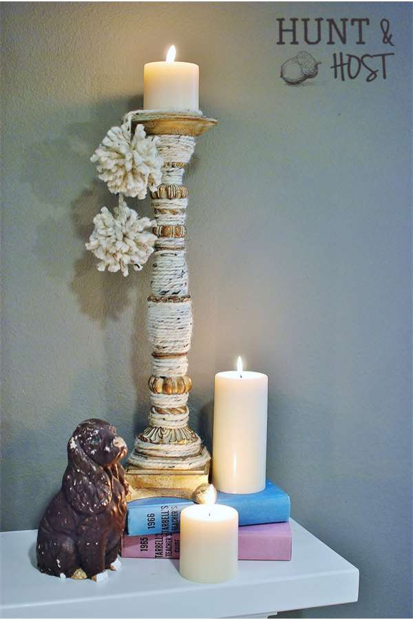 yarn wrapped candlestick hunt and host