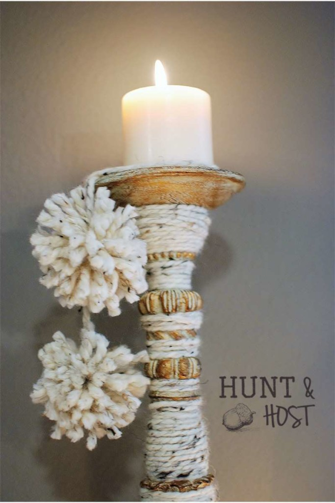 yarn wrapped candlestick tassels hunt and host