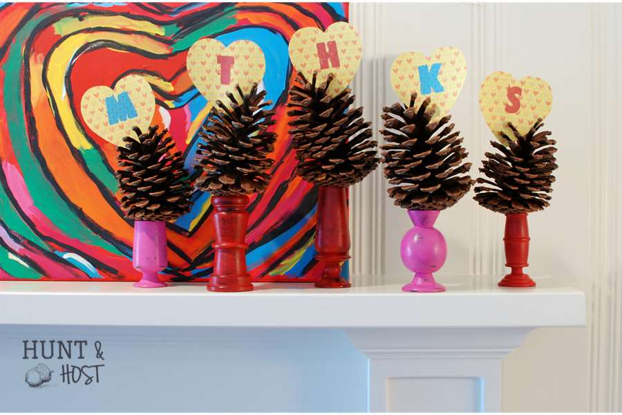 Valentine red heart pinecone mantel