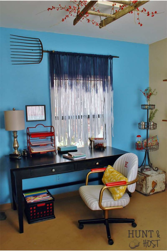 DIY sky blue no sew curtains