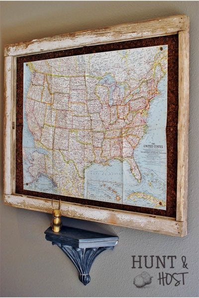 window frame map bulletin board
