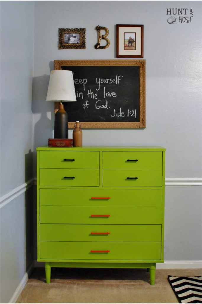 green dresser photo display