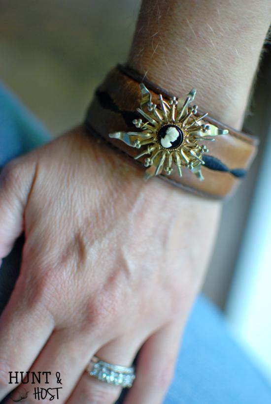 leather cuff brooch bracelet DIY tutorial