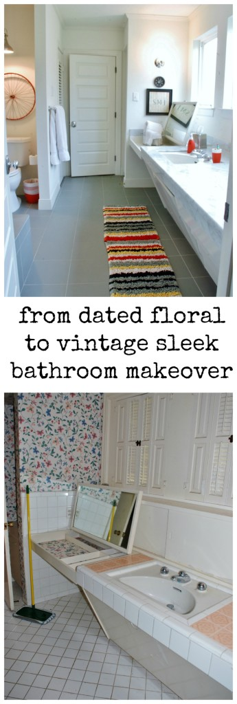 This outdated bathroom goes from fab floral to vintage sleek. Get the full makeover including stunning before and after photos here. www.huntandhost.net