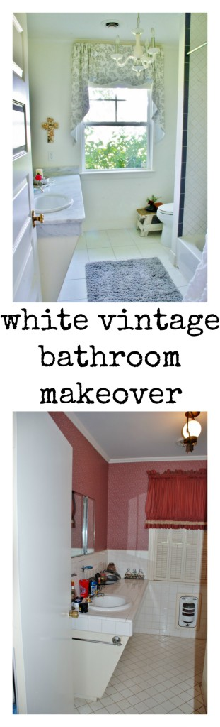 A mauve dungeon transforms into a crisp white vintage bathroom in this makeover story. www.huntandhost.net