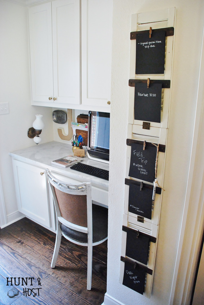 This kitchen command center will get your to-do list in order. Old shutters turn into a weekly organizer for the whole family.