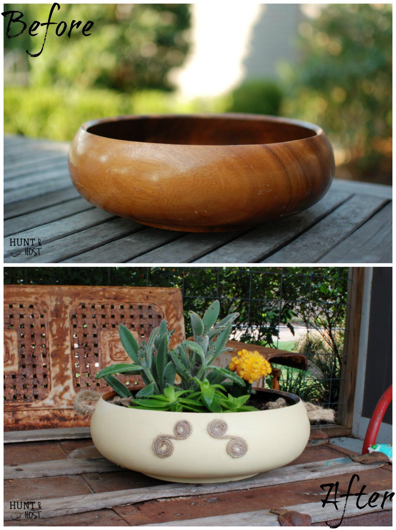 Wooden Salad Bowl Makeover Salvaged Living