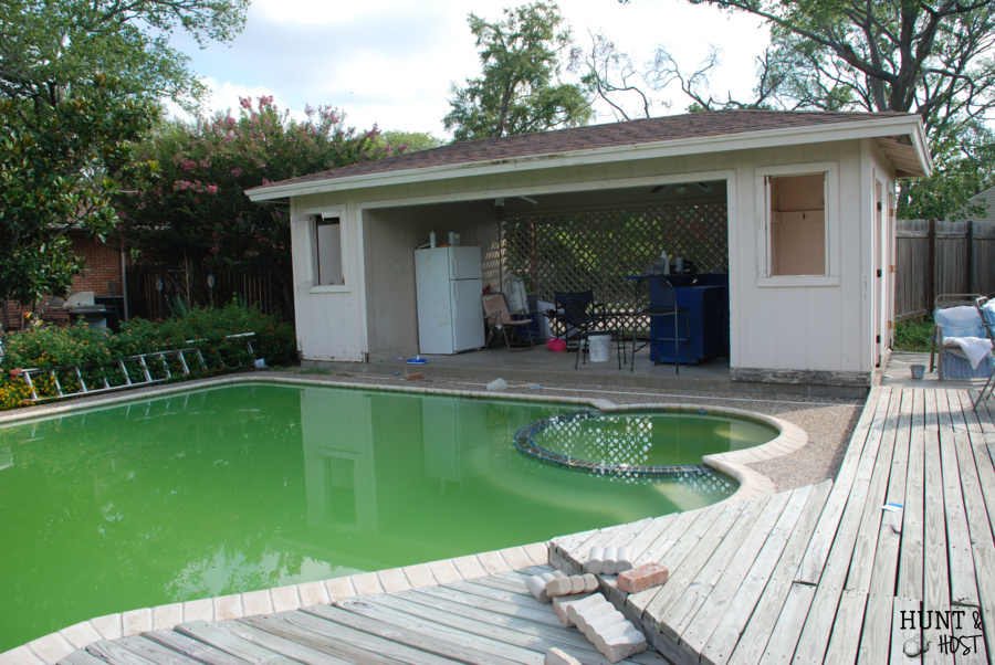 Back Yard before and after pool