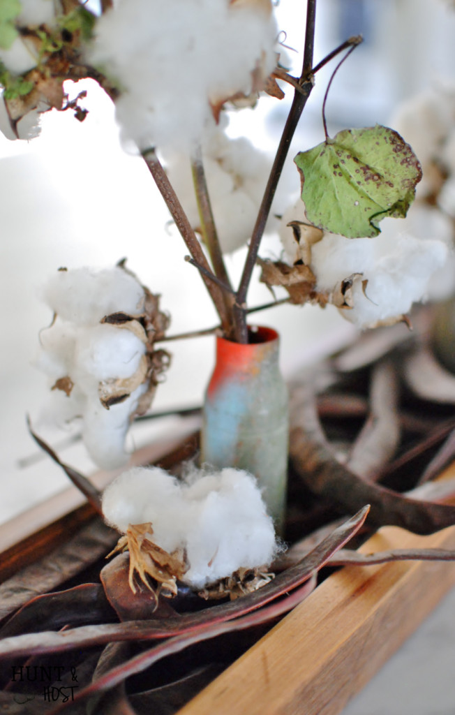 real cotton and jerusalem pea centerpiece
