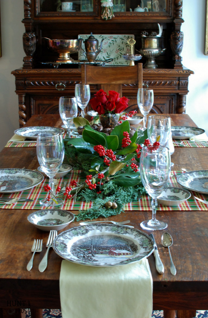 Christmas table magnolia pecan transferware huntandhost.net