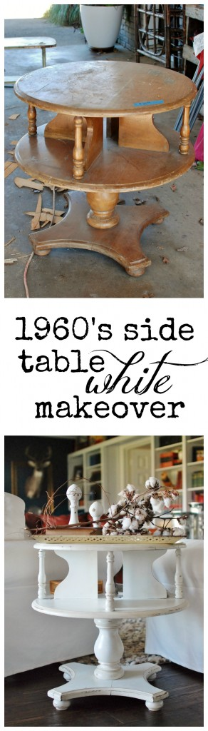 a 1960's side table gets a WHITE chalkpaint makeover for this #FurnitureRefresh challenge. huntandhost.net