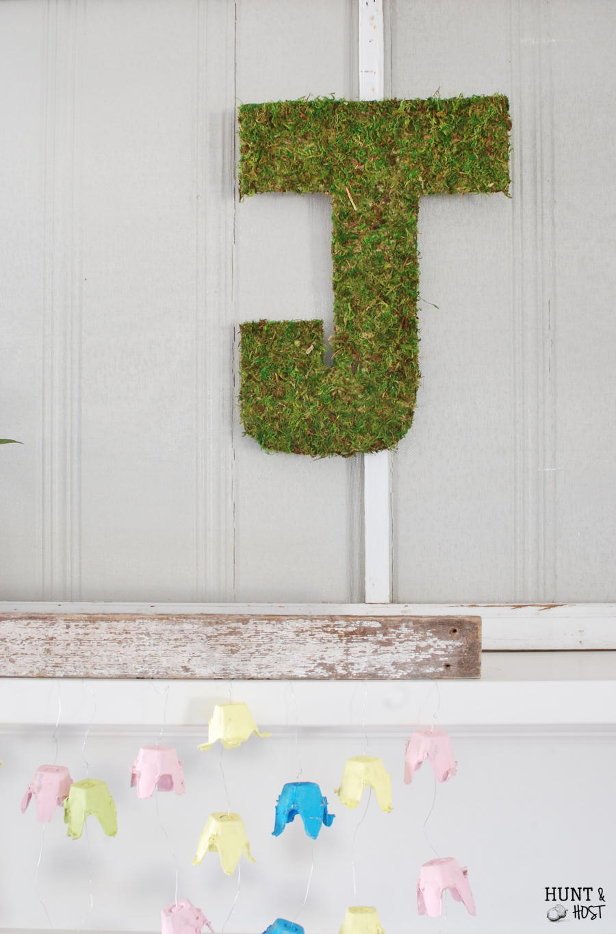 DIY moss letter. The easiest and least expensive idea here!