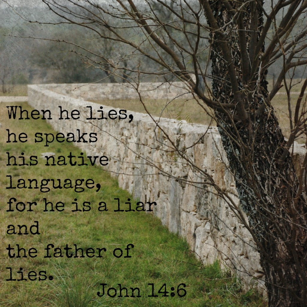 When he lies he speaks his native language, for he is a liar and the father of all lies. John 8:44 Memory verse challenge www.huntandhost.net
