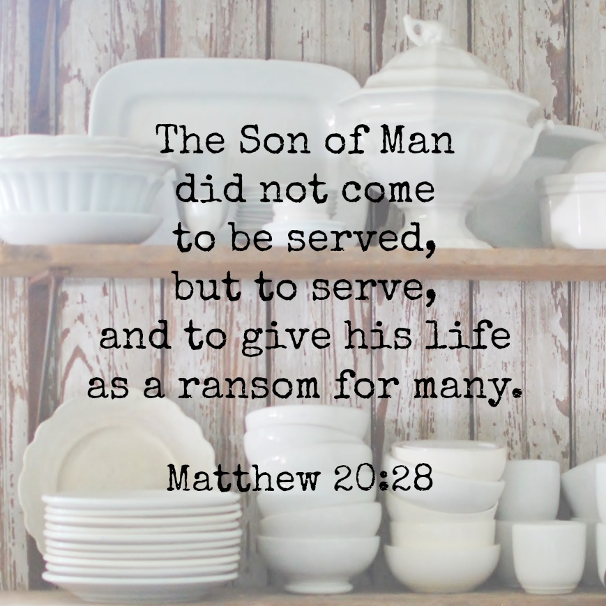 The Son of Man did not come to be served, but to serve and to give his life as a ransom for many. Matthew 20:28 Memory verse challenge www.huntandhost.net
