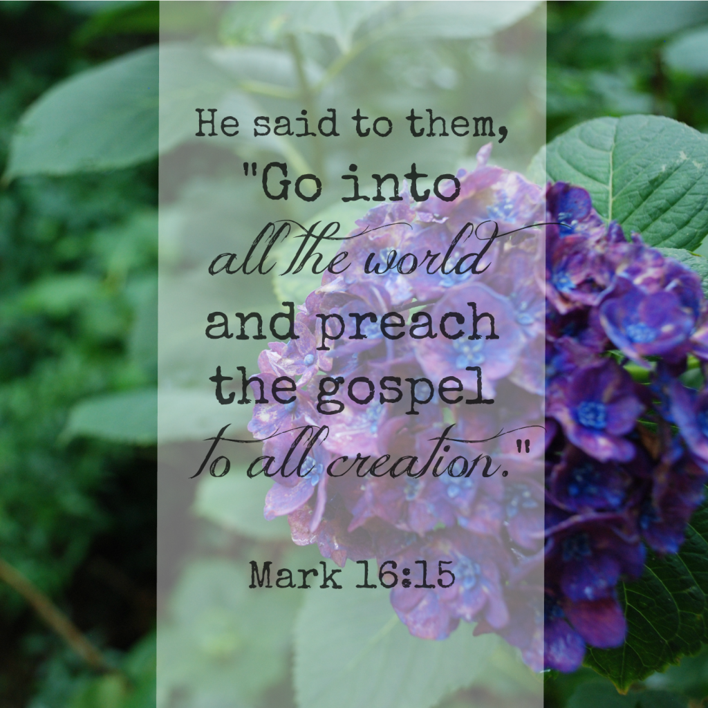 "He said to them, ""Go into all the world and preach the gospel to all creation."" Mark 16:15 Memory verse challenge www.huntandhost.net"