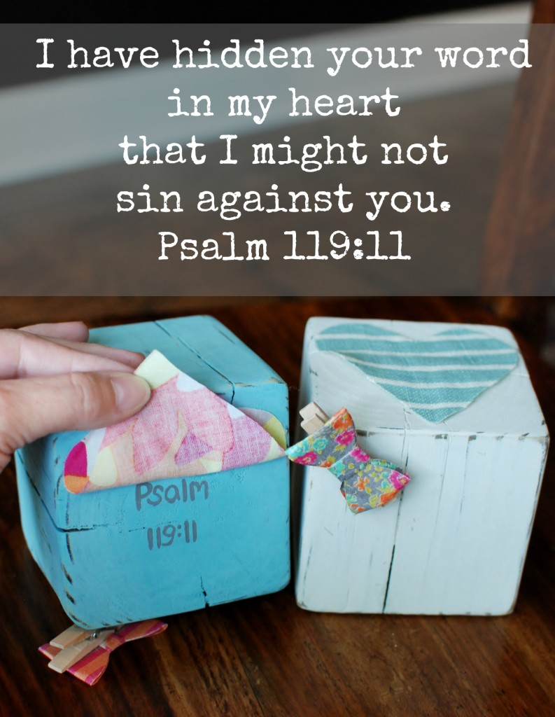 A Homemade Mother's Day gift using a reclaimed 4X4 wood post. Perfect for a picture or memory verse! I have hidden your word in my heart Psalm 119:11 www.huntandhost.net
