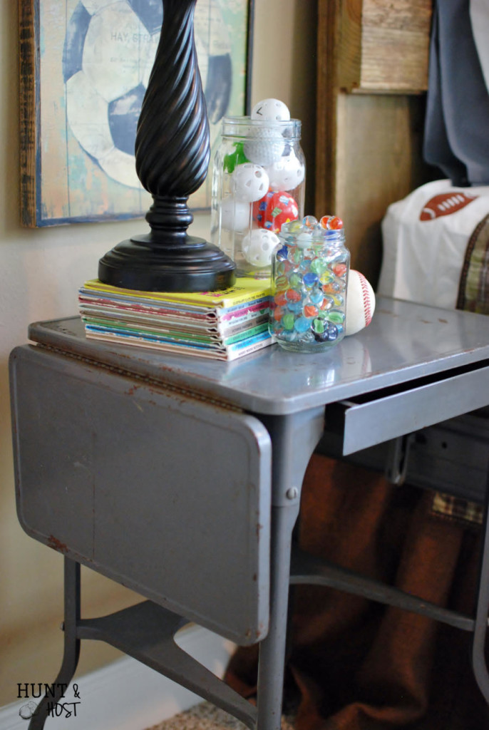 Plucked from obscurity. Thrifted to Décor. Being chosen. This grey metal medical table makes the perfect nightstand and is a reminder that we are seen. www.huntandhost.net