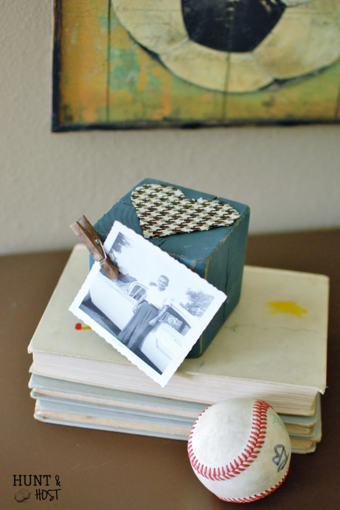 A Homemade Mother's Day gift using a reclaimed 4X4 wood post. Perfect for a picture or memory verse! www.huntandhost.net
