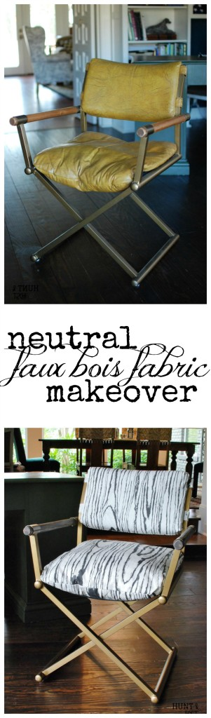 Power In Neutral: Faux Bois fabric. Check out this round-up of neutral inspired furniture makeovers! This mid-century desk chair went from tacky leather to sleek with a Faux Bois refresh. www.huntandhost.net