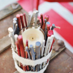 Patriotic Twig Vase: A fun summer project made from the junk in your yard. www.huntandhost.net