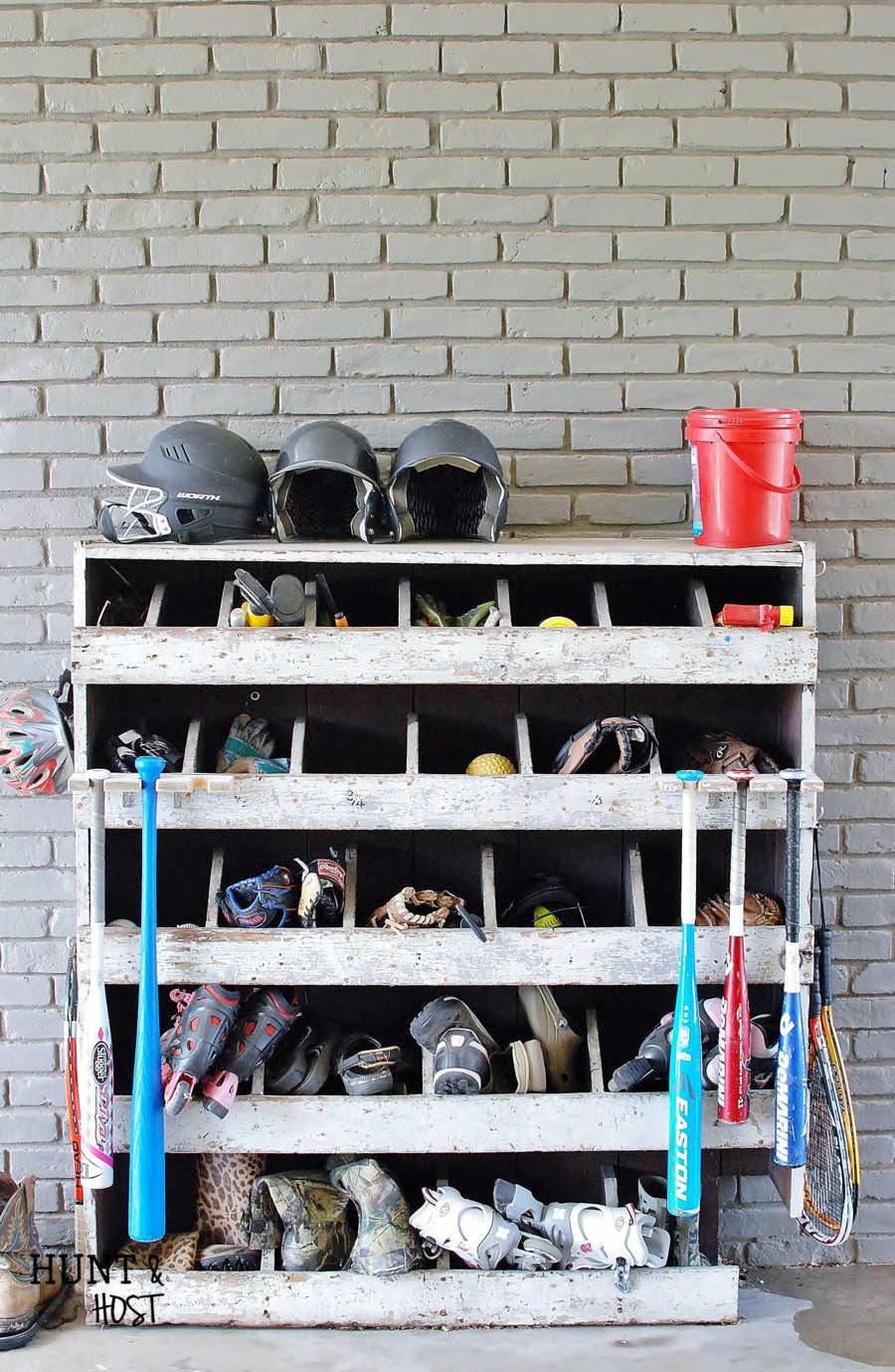 Diy Baseball Bat Rack Storage Solution Salvaged Living
