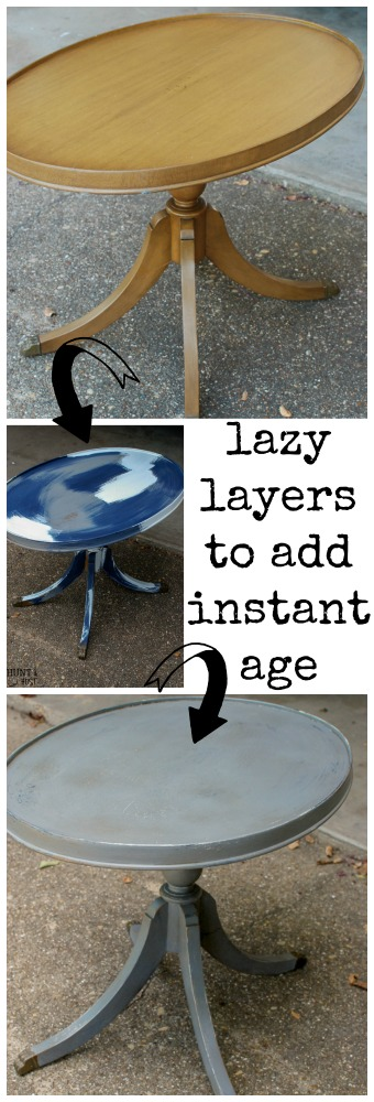 Here's a quick tip on how to easily add years to your furniture's paint job. I call it lazy layers for instant age.