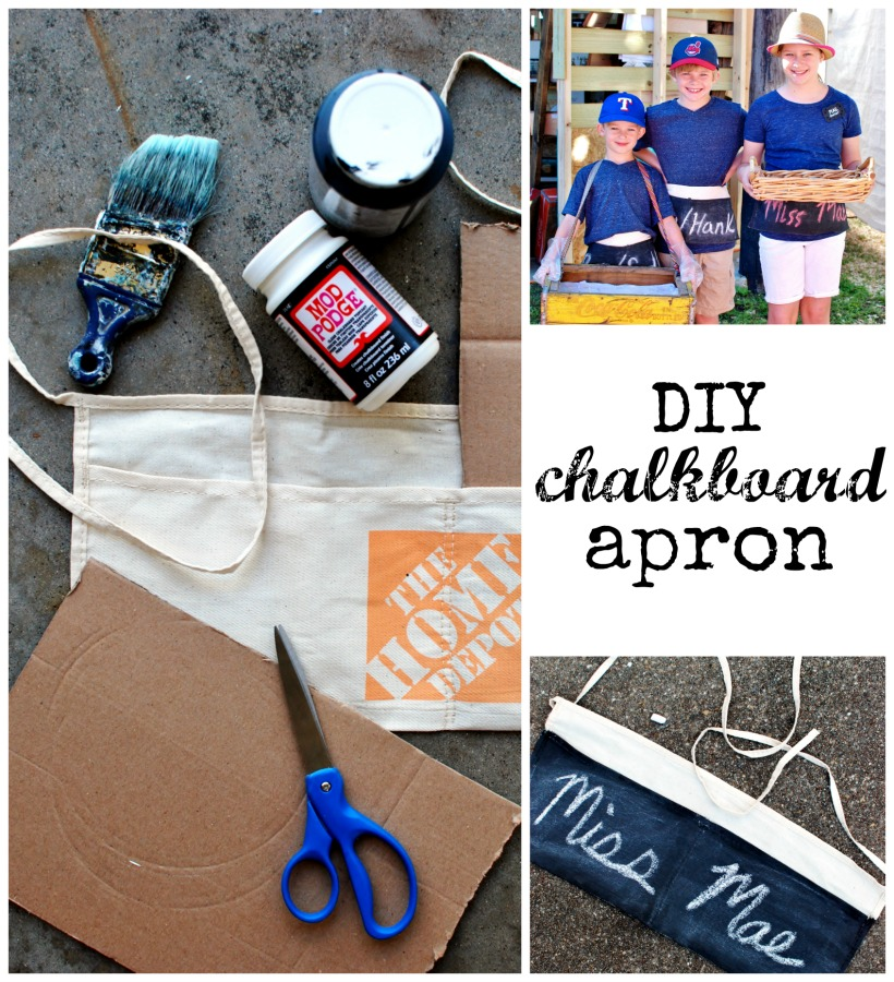 Chalkboard ideas are so fun and this DIY chalkboard apron is no exception! Perfect for and art & craft festival vendor, garage sale, around the house or a kettle corn stand! Plus snag some cute craft show both display ideas.