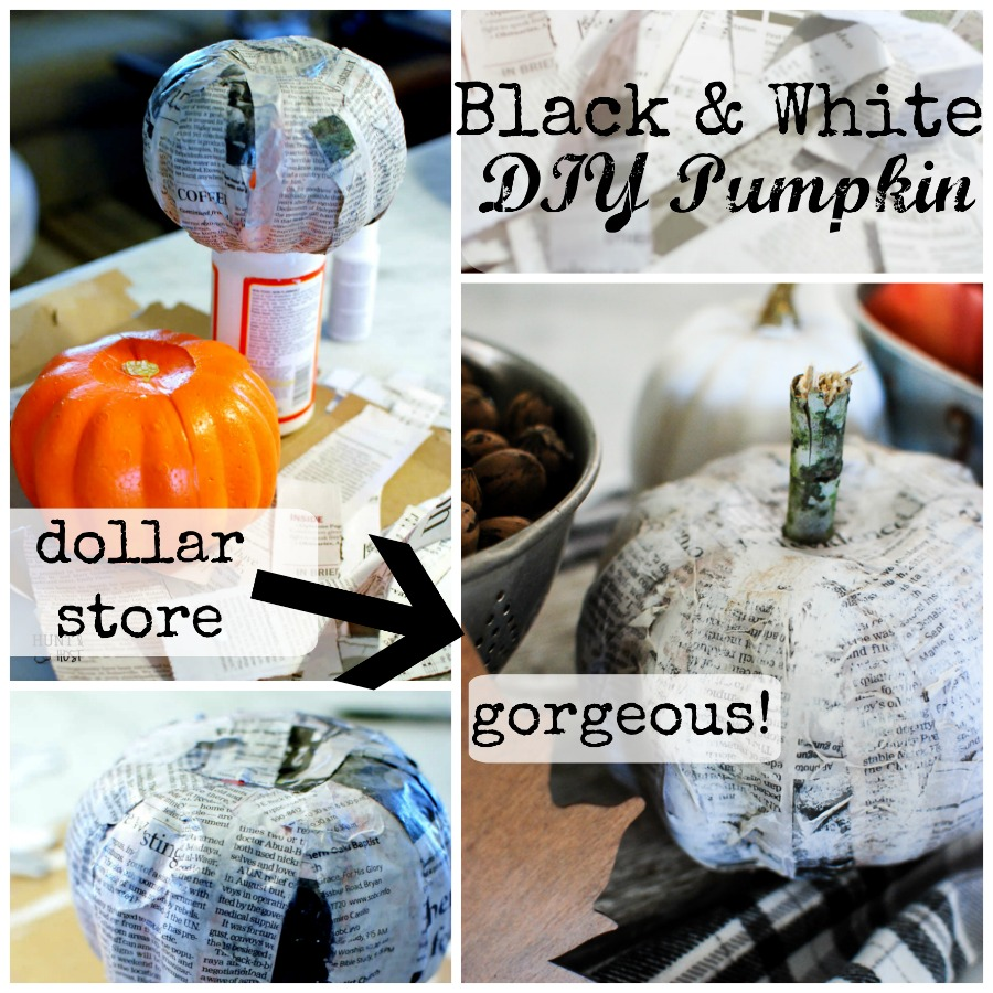 Newspaper decoupage makes the most gorgeous black and white pumpkins. They are a cinch to DIY for your fall holiday décor.