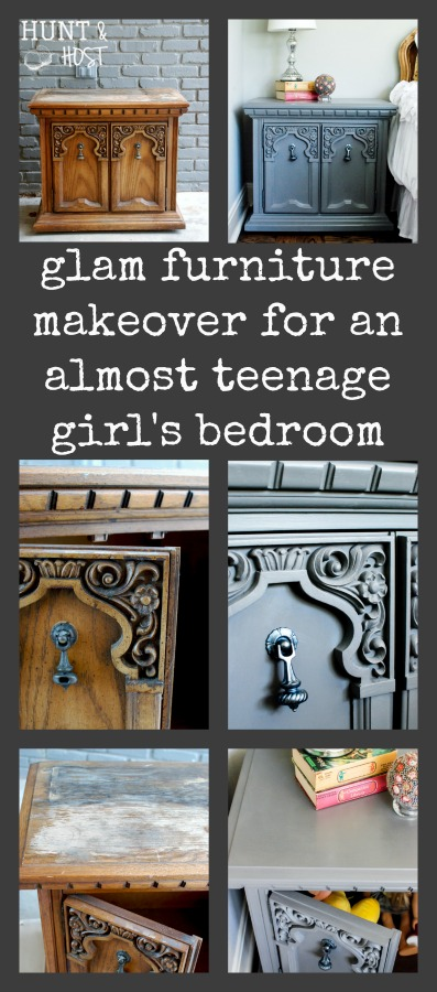 This painted furniture makeover is perfect for my almost teenage girls bedroom! A little glam on the hardware is the crowning touch on a not to young, not to old nightstand makeover.