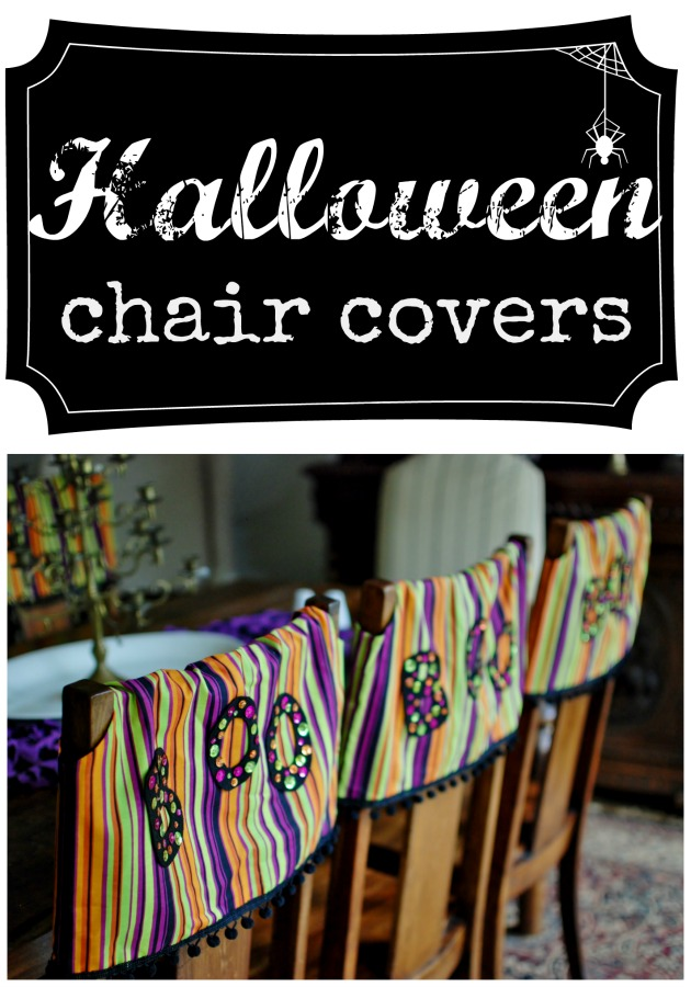 Halloween hits the dining room with these Halloween chair covers.