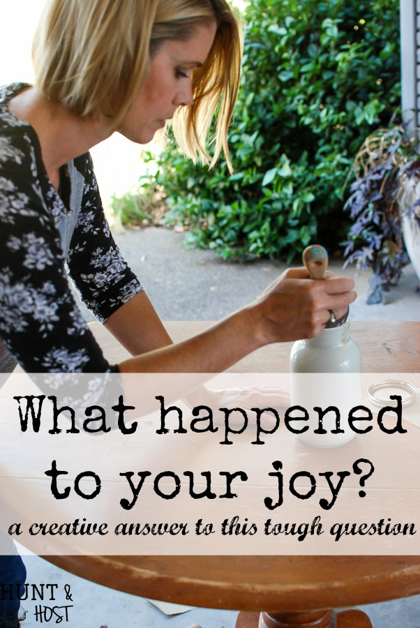 What happened to your joy? If you've ever looked up and asked yourself this tough question you might appreciate the gentle answer God gave me. A creative answer to a hard question.