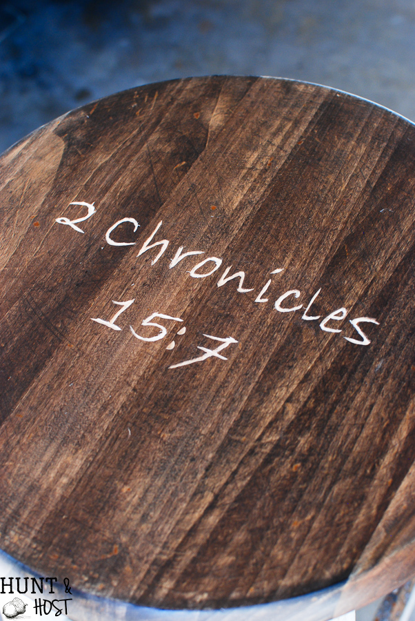 How to carve a bible verse into furniture. Carve your favorite scripture address into furniture as a great an d uplifting reminder.