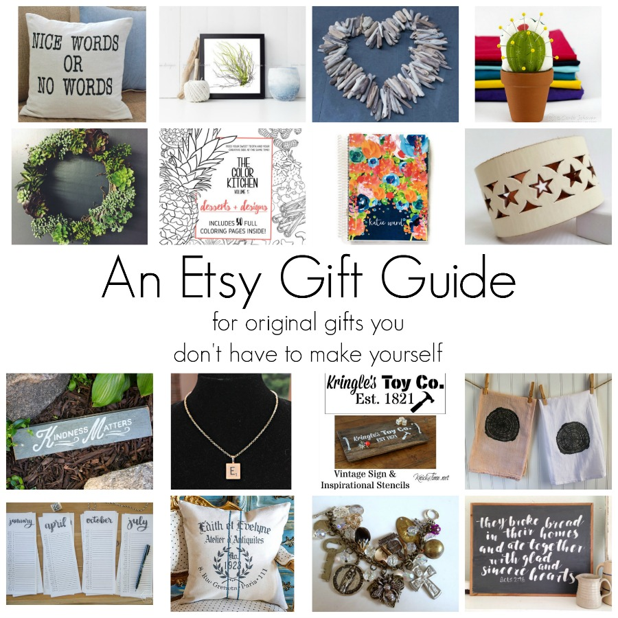 19 gift items for when you want to give a one of a kind gift, but don't want to make it yourself! An Etsy Gift Guide featuring: hand lettered signs, stencils, calendars, wreaths, jewelry and more!