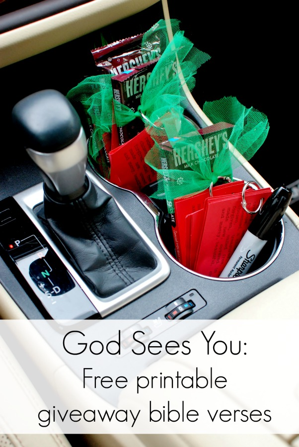 Free Printable scripture cards to give away. God sees you, a gift for the unseen all around us.