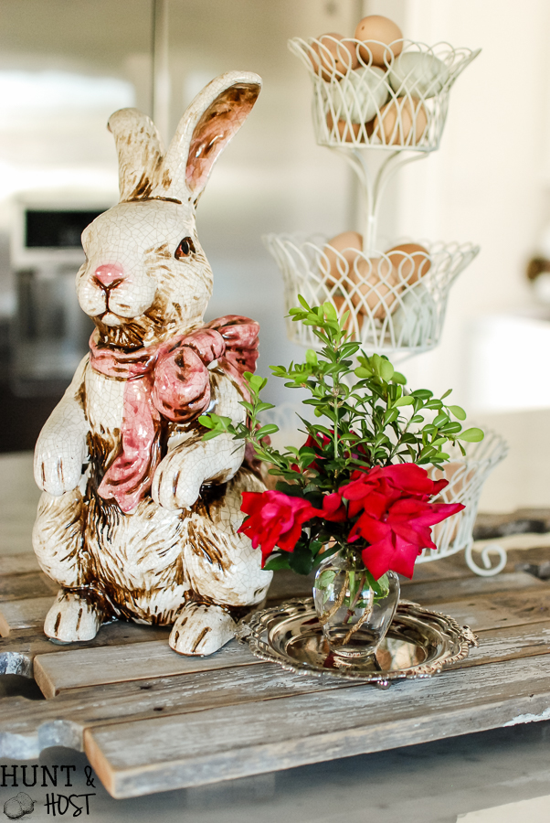 Thrifted planters make inexpensive and fresh spring décor. Try live Begonias or Violets this spring, along with fresh eggs, nests and Easter bunnies for simple and elegant spring decorating ideas.