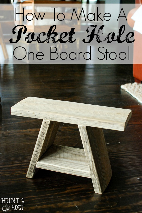 How to make a pocket hole tutorial perfect for this one board stool. We use these handy stools as extra seating around our coffee turned game table for a mean match of Mexican Train!