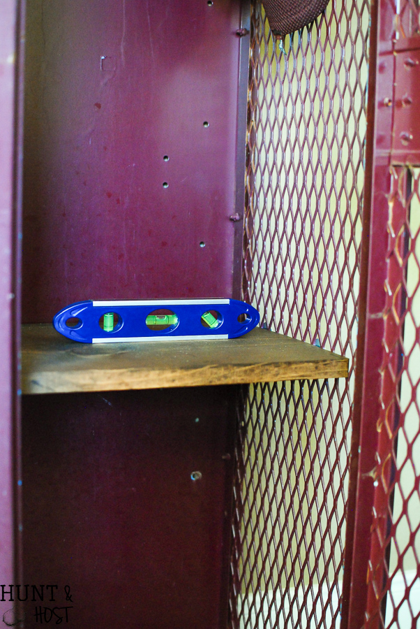 Old school lockers or gym lockers make great storage but you can add more. Here is an easy way to add extra storage to these vintage lockers. Perfect for a boy's room, laundry room or kid's storage.