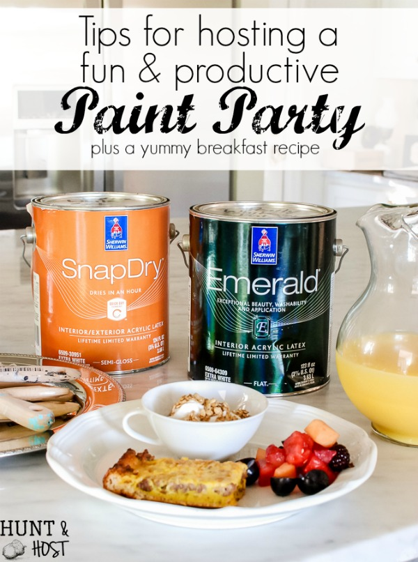 Throw a paint party brunch with the girls to tackle those not so fun to-do list taks! Grab a delicious Pan Breakfast Recipe and tips to have a fun and productive paint party!