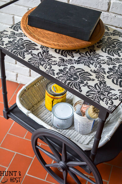 This beautiful old tea cart gets a sleek makeover into a rolling craft cart with an easy DIY tutorial!