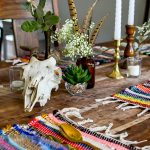 Boho table setting. Yes you can get awesome Boho décor on the cheap. Look at this cute table full of dollar store fall decorating accessories.
