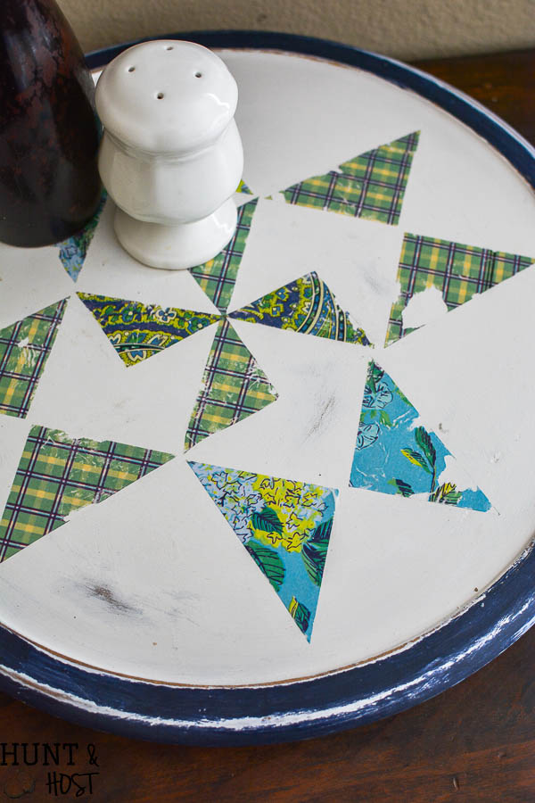 "How to add a ""quilt"" to your old Lazy Susan to make it a fresh new Farmhouse Lazy Susan. Simple DIY tutorial for a different Lazy Susan idea!"