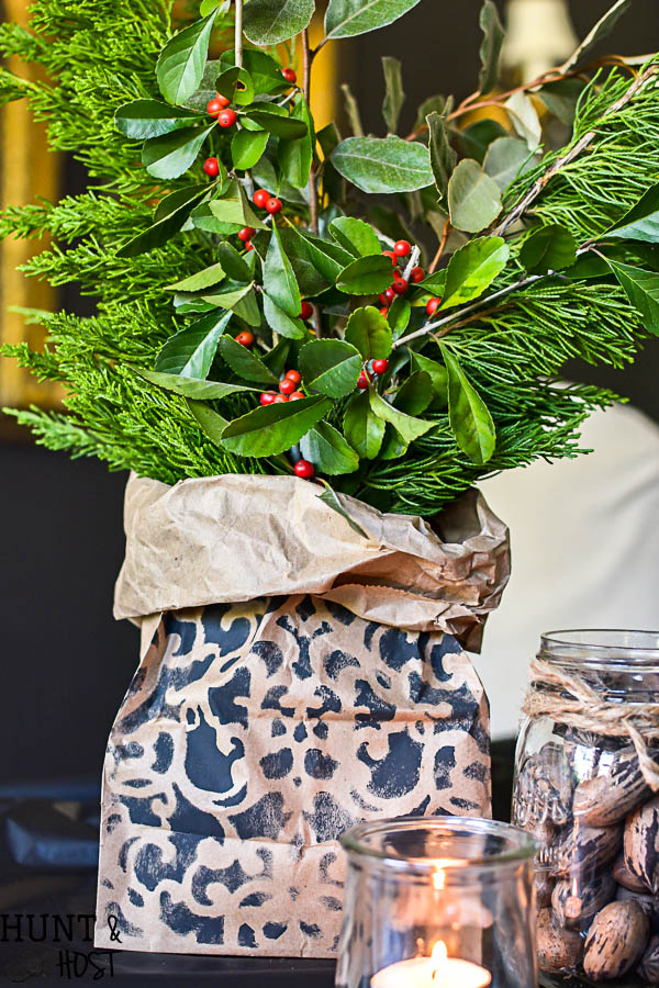 This easy holiday centerpiece idea is perfect for a last minute table or a large banquet setting. Easy and inexpensive paper bag