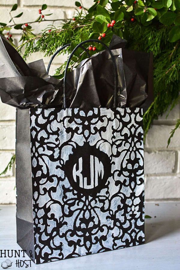 Monogram gift wrap idea. Personal gift wrap for Christmas, birthday or just because with supplies from the dollar store!