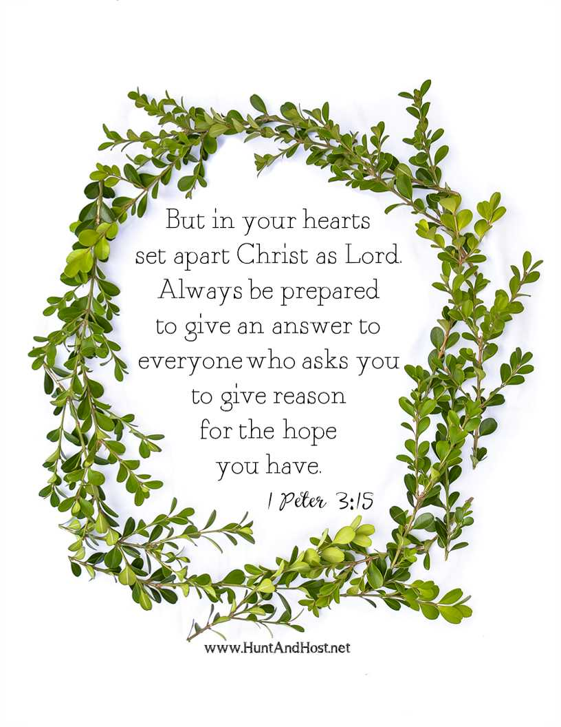 But in your hearts set apart Christ as Lord. Always be prepared to give an answer to everyone who asks you to give reason for the hope you have. 1 Peter 3:15