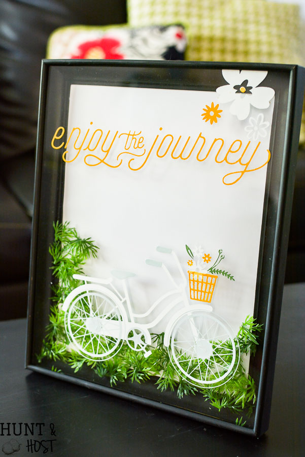 See how to change the color of a gold picture frame and update your old picture frame with a fresh new look. This sweet typography bicycle art is perfect for spring and great inspirational wall art!