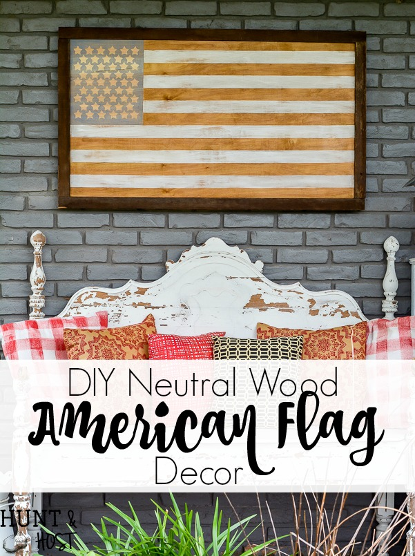 How to make a neutral American Flag decor piece, perfect for your living room or porch, great on a mantel or wall art. This DIY American flag wood decor has perfect clean lines thanks to Frogtape. #porchdecor #summerdecorating #frogtape #frogtapeprojects #diyWoodSign #RedWhiteandBlue #oldGlory #PatrioticDecor #flag #AmericanFlag #FourthofJuly