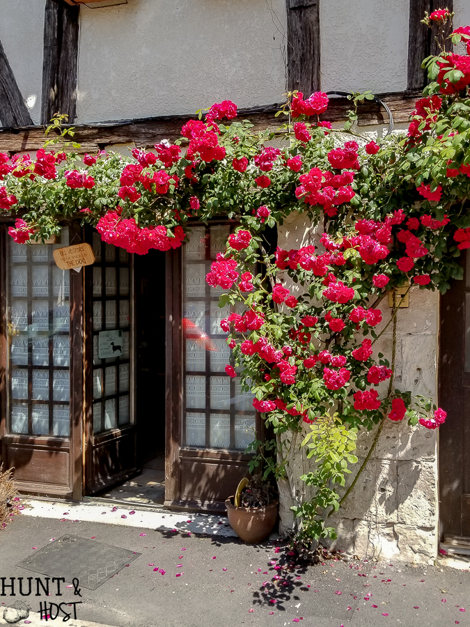doors covered in floral arch in a small town in France. Headed to the brocante it was fun to see all the entryways covered in flowers. Climbing roses over each door were gorgeous. #frenchflwoers #franceinbloom #climbingroses #doorgoals #frenchcountrydecor