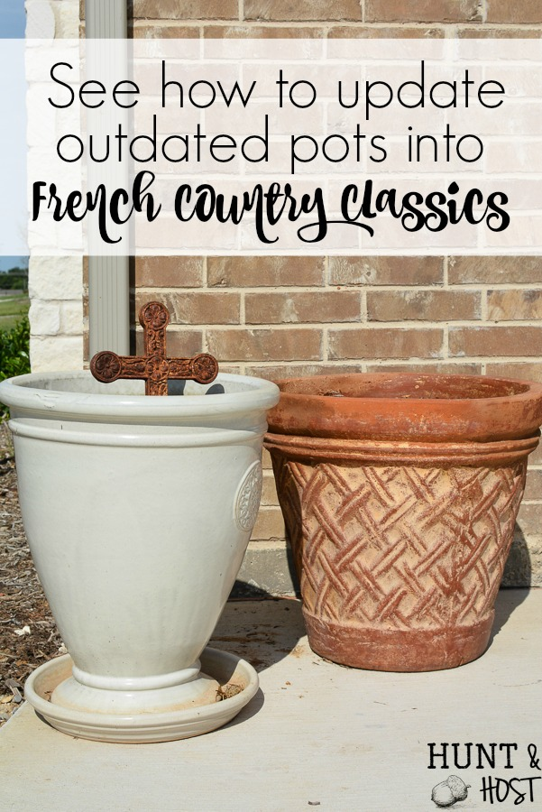 Update your outdated terra cotta pot into a French country classic. Streamline your potted patio plants or bring an outdoor potted plant inside with this easy DIY makeover to get your old pots to match your current décor. It's so much easier to update what you have rather than buy new pots! Please a great tip on how to keep clean up quick and easy!