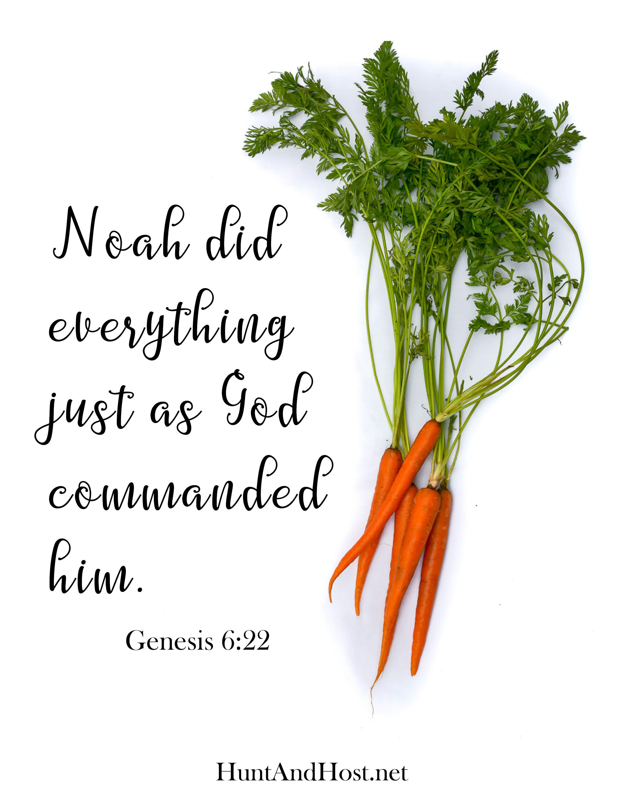 June 2018 Free Printable Bible Verse Genesis 6:22