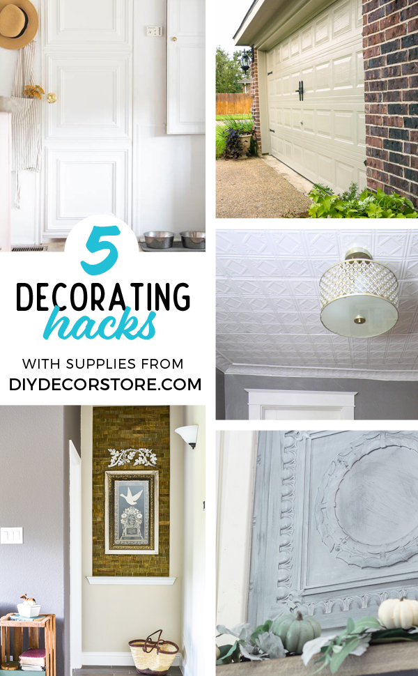 Taking your boring art niche up a notch with this quick afternoon makeover. How to install peel and stick wood tiles to decorate a small space with rustic style. #woodtile #artniche #rusticdecor #woodwall #easyshiplap
